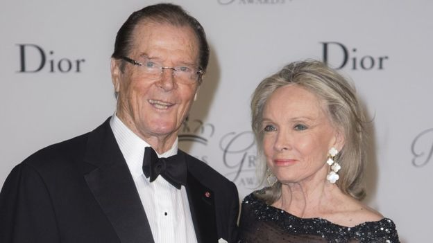 Roger Moore & Wife